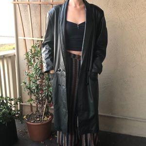 Genuine leather 90s vintage trench coat